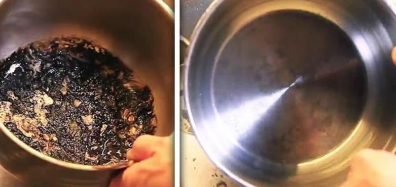îndepărtând grăsimea arsă din tigaie